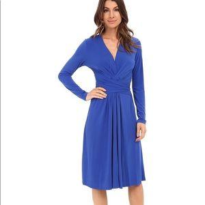 Long Sleeve Royal Blue Michael Kors Wrap Dress